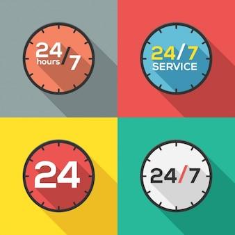 24時間サービスロゴコレクション