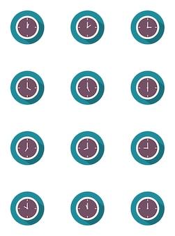 時計のベクトル図は、青と紫色のフラットスタイルの長い影で24時間を設定