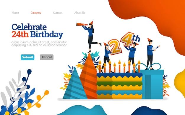 Шаблон целевой страницы. праздновать дни рождения, праздничные дни, 24-летие. векторная иллюстрация