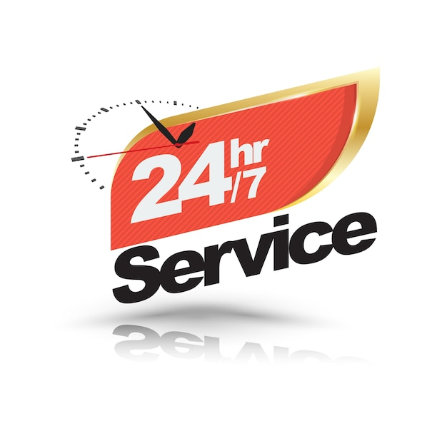 24hr /7 service with clock banner