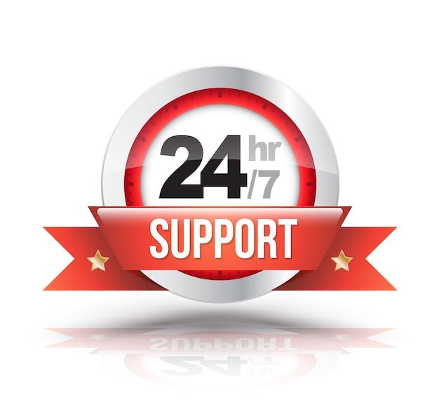 Красная 24hr / 7 поддержка с значком масштаба часов