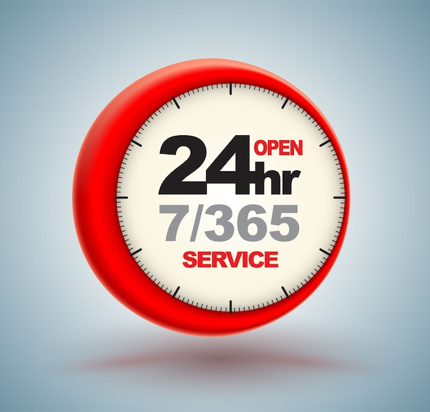 24hr services with clock scale logo 3d style.