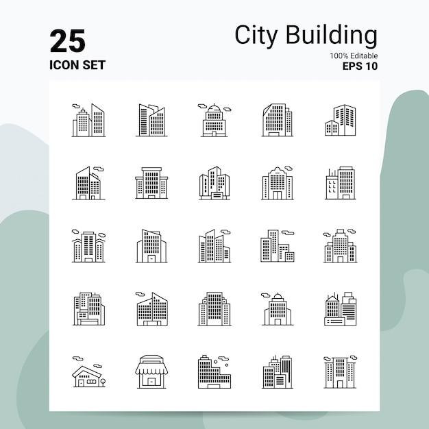 25 city building icon set business logo concept ideas line icon