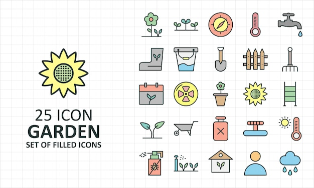 25 filled garden icons sheet