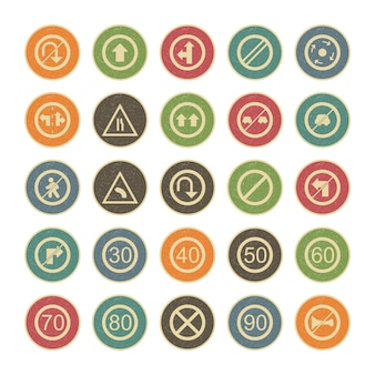 25 icon set of road signs for personal and commercial use...