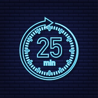 The 25 minutes stopwatch vector neon icon stopwatch icon in flat style