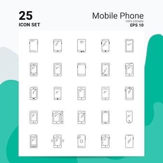 25 мобильный телефон icon set бизнес логотип концепция идеи line icon