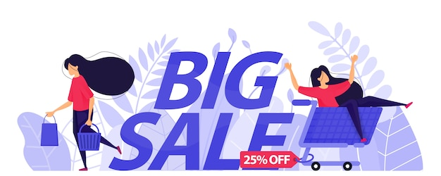 25% off big sale poster for e-commerce.
