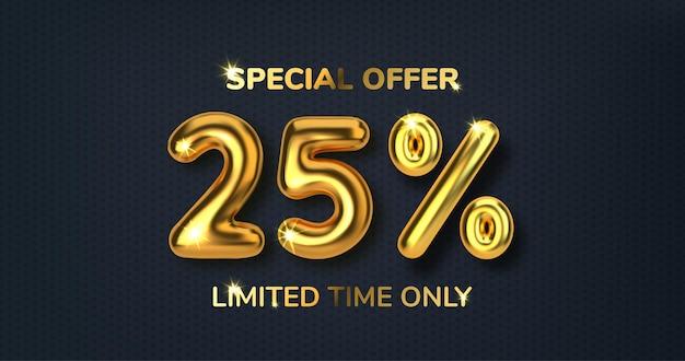 Скидка 25 на рекламную распродажу из реалистичных 3d золотых шаров