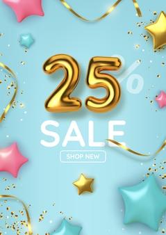 Скидка 25 на рекламную распродажу из реалистичных золотых шаров со звездами