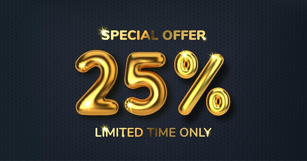25 off discount promotion sale made of realistic 3d gold balloons