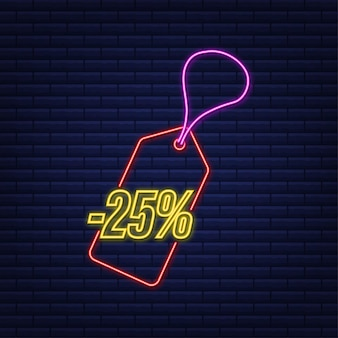 25 percent off sale discount neon tag discount offer price tag