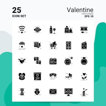 25バレンタインアイコンセットビジネスロゴコンセプトアイデア固体グリフアイコン