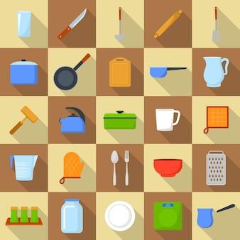 台所用品ツール料理のアイコンを設定します。 25台所用品ツールのフラットの図は、webのアイコンを調理します