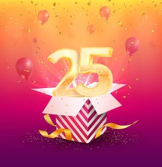 Шаблон баннера юбилей 25 лет. двадцатипятилетний юбилей с воздушными шарами и конфетти.