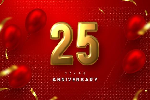 25 주년 기념 배너. 3d 황금 금속 번호 25와 붉은 발견 배경에 색종이와 광택 풍선.