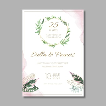 25 years anniversary floral card template