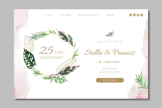 25 years anniversary floral landing page template
