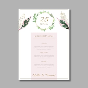 25 years anniversary floral menu template