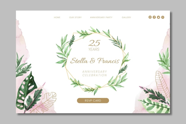 25 years anniversary floral template landing page