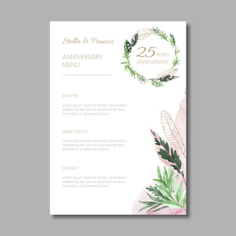 25 years anniversary floral template menu