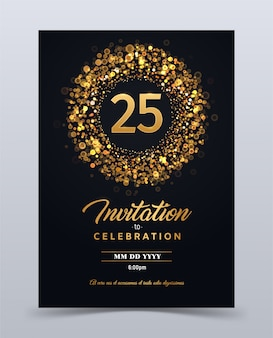 25 years anniversary invitation card template isolated vector illustration