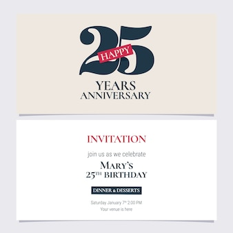 25 years anniversary invitation illustration.