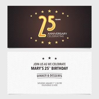 25년 기념일 초대 벡터 일러스트입니다. 25번째 생일 카드, 파티 초대에 대한 추상적인 배경이 있는 디자인 템플릿 요소