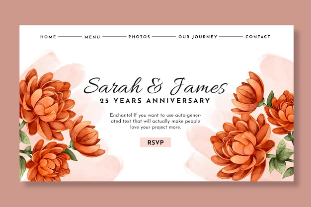 25 years anniversary landing page template