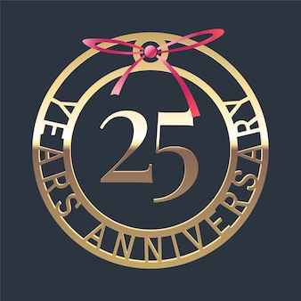25 years anniversary logo with golden medal and red ribbon