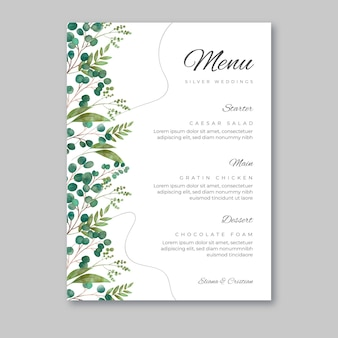 25 years anniversary menu template