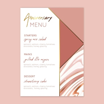 25 years anniversary menu