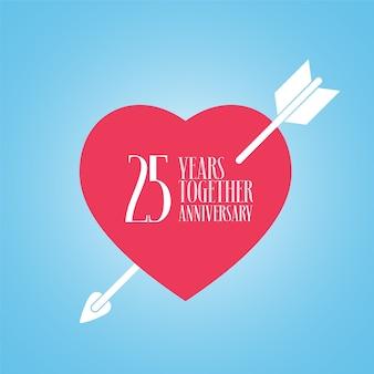 결혼 또는 결혼 벡터 아이콘, 일러스트 레이 션의 25 년 기념일. 25 번째 결혼식 축하를위한 마음과 화살표가있는 템플릿 디자인 요소
