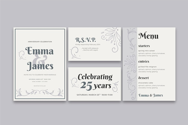 25 years anniversary stationery collection