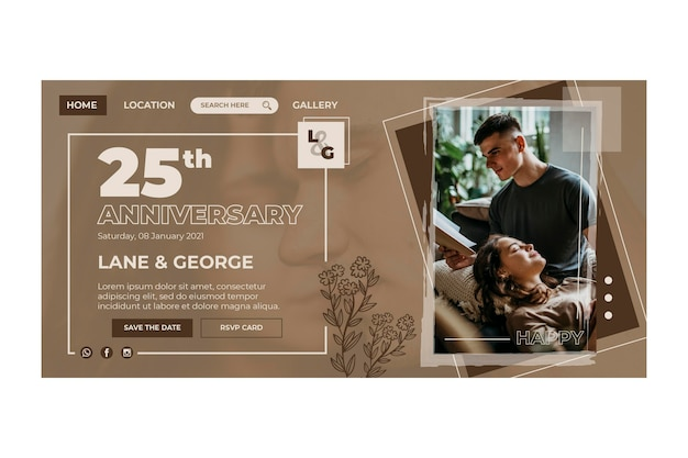 25 years anniversary template landing page