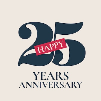 25 years anniversary vector logo, icon. template design element, symbol with number for 25th anniversary greeting card