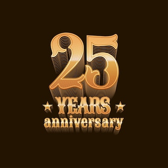 25 years anniversary vector symbol. 25th birthday design, sign in gold