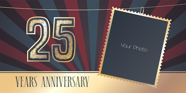 25 years anniversary in vintage style.