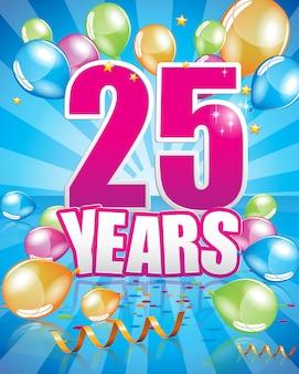 Поздравительная открытка 25 лет