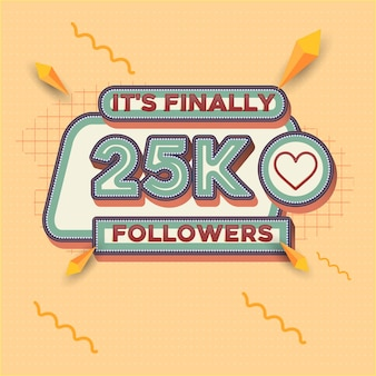 25000 followers square banner retro look