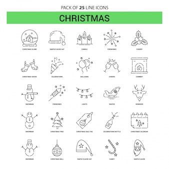 クリスマスラインアイコンセット -  25点線のアウトラインスタイル