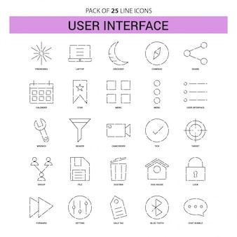 Набор значков линии интерфейса пользователя - 25 пунктирных линий