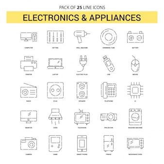 エレクトロニクスおよび家電製品ラインアイコンセット -  25点線のアウトラインスタイル
