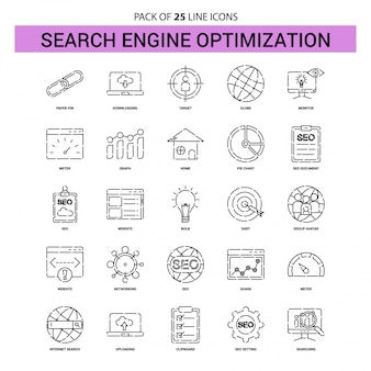 検索エンジン最適化ラインアイコンセット -  25点線のアウトラインスタイル