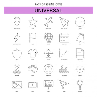 Универсальный набор значков линии - 25 штриховых линий