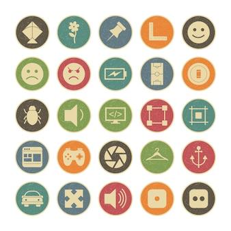 25個人用および商用用のユニバーサルアイコンセット...