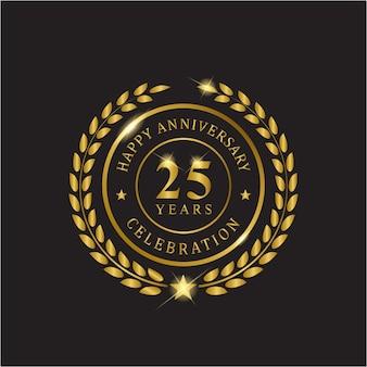 金色の花輪の記念日、25年のお祝い。