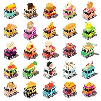 Набор иконок еды грузовик. изометрическая иллюстрация 25 продовольственных грузовиков векторных иконок для веб-сайтов