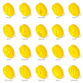 暗号通貨タイプのアイコンを設定します。 25の暗号通貨タイプの等尺性イラストベクトルアイコン