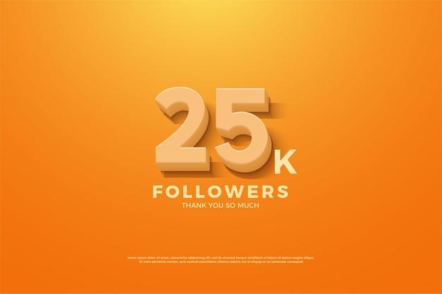 25k подписчиков с иллюстрацией 3d чисел, появляющейся на заднем плане